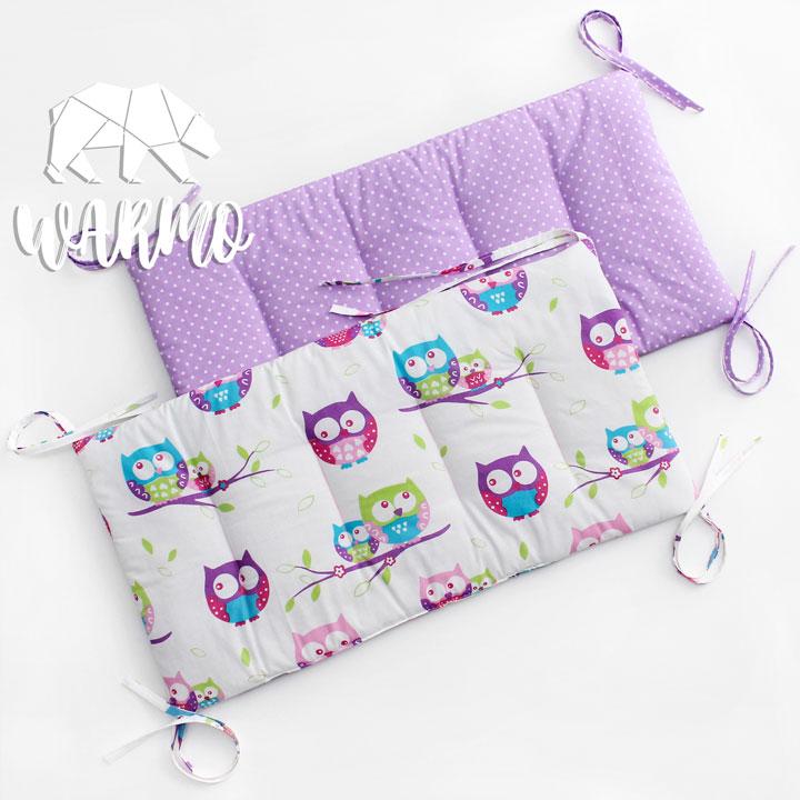 бортики в кроватку фіолетові в білу точку фото