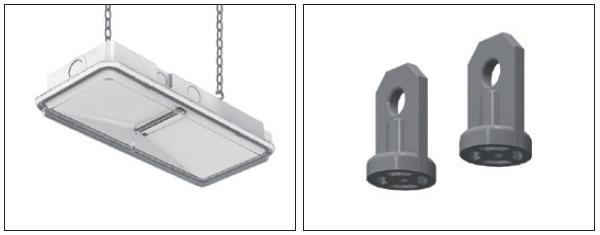 Пример монтажа универсального аварийного светильника на подвесах