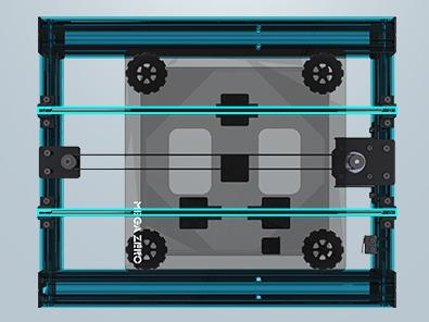 Алюминиевая рама с замкнутым контуром и двойная ось Y обеспечивают жесткость конструкции, высокую точность и стабильность печати.