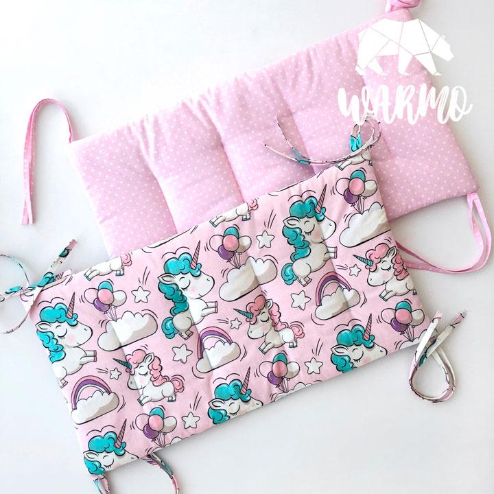 бортики в кроватку рожеві в білу точку фото