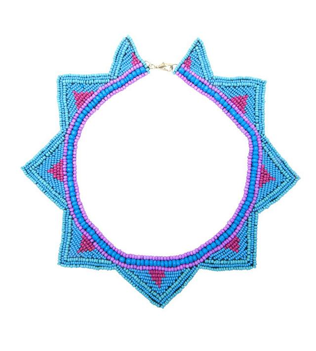 Летнее колье из розового и голубого бисера от Papiroga