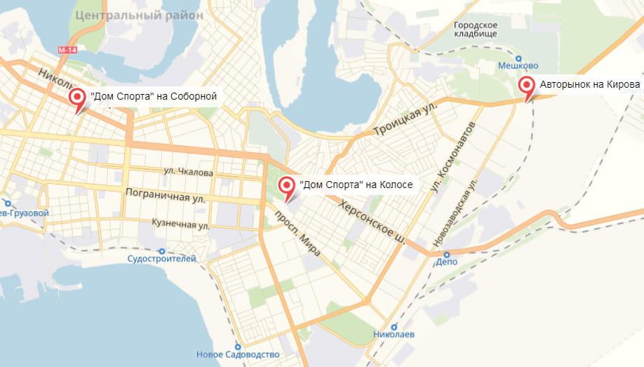 """Магазини мережі """"Будинок Спорту"""" на карті Ніколава"""