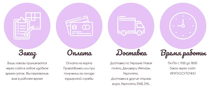 Условия доставки товара на сайте