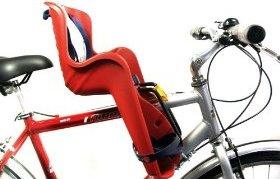 Крепление детского велокресла гибкой стальной вилкой на нижней трубе