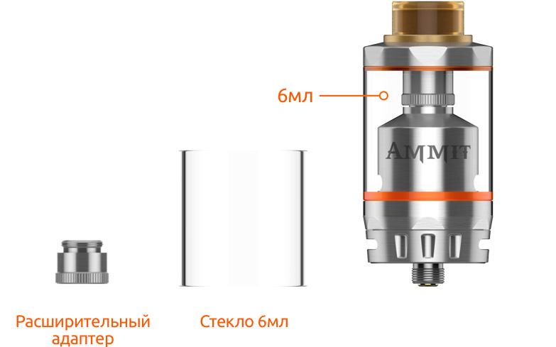 Две ёмкости бака е-жидкости 3мл и 6мл GeekVape Ammit Dual Coil RTA