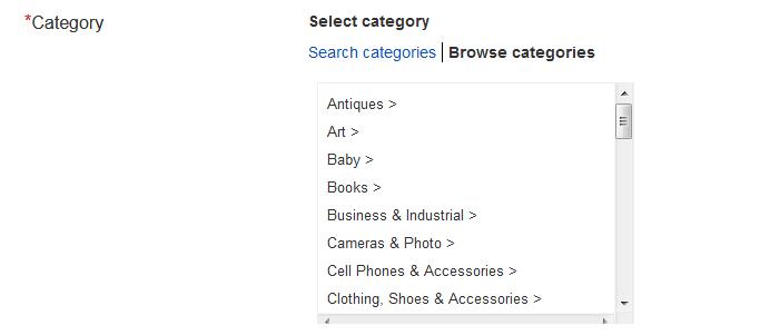 Выбор категории товара