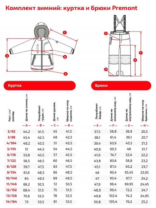 Размерная сетка комплекта Premont зима 20-21