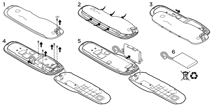 Снять аккумулятор на Harmony Touch