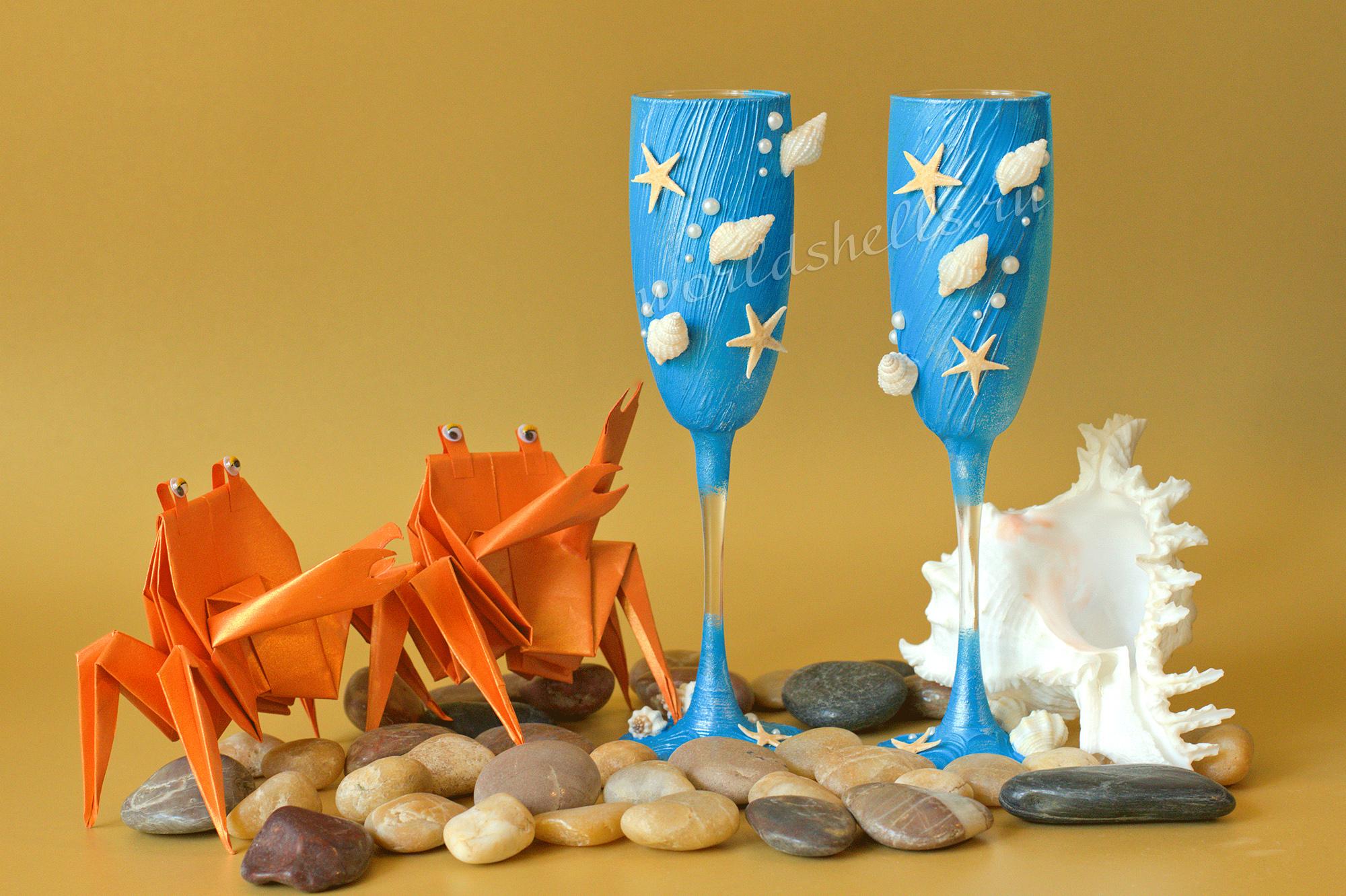 Бокалы в морском стиле с ракушками