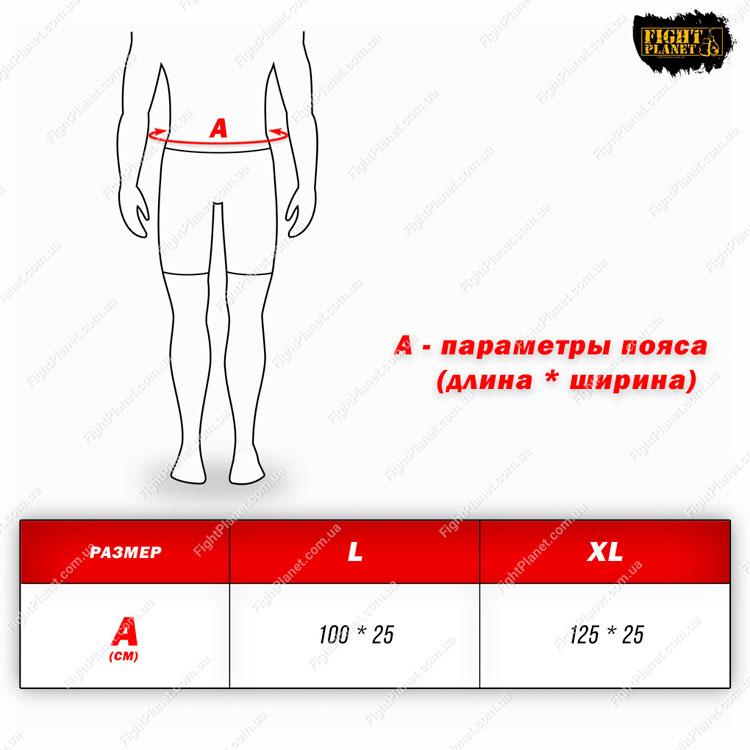 Размерная сетка таблица пояс для похудения Power System