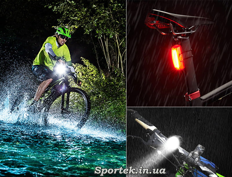 Видимость велосипедиста под дождем на дороге