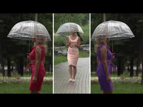 Зонт-трость Райская птица с прозрачным куполом