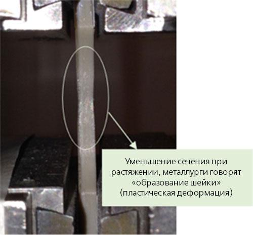 Уменьшение сечения при растяжении, металлурги говорят – «образование шейки»(пластическая деформация)