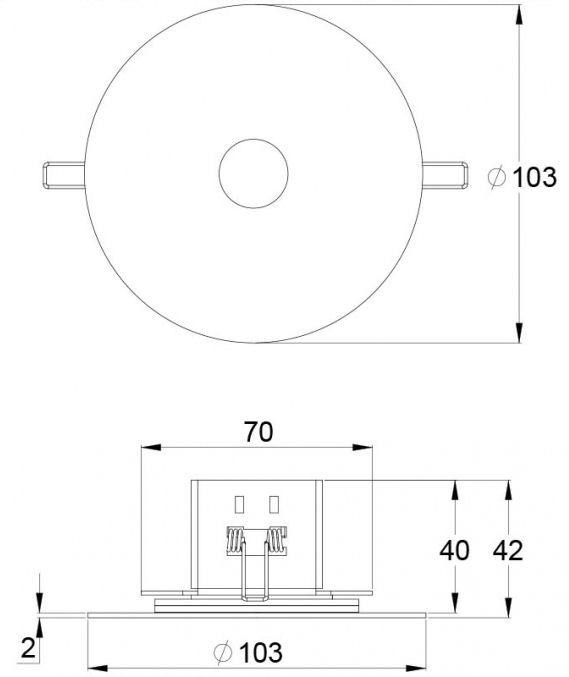 Монтажные размеры эвакуационного светодиодного светильника SLIMSPOT – централизованного и адресного типа