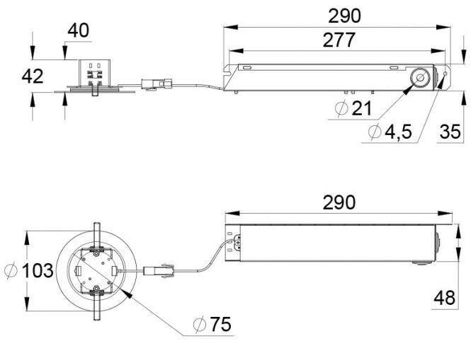 Монтажные размеры эвакуационного светодиодного светильника SLIMSPOT – адресного типа