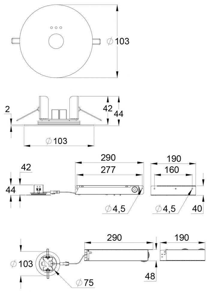 Монтажные размеры эвакуационного светодиодного светильника SLIMSPOT – автономного типа на супер-конденсаторах