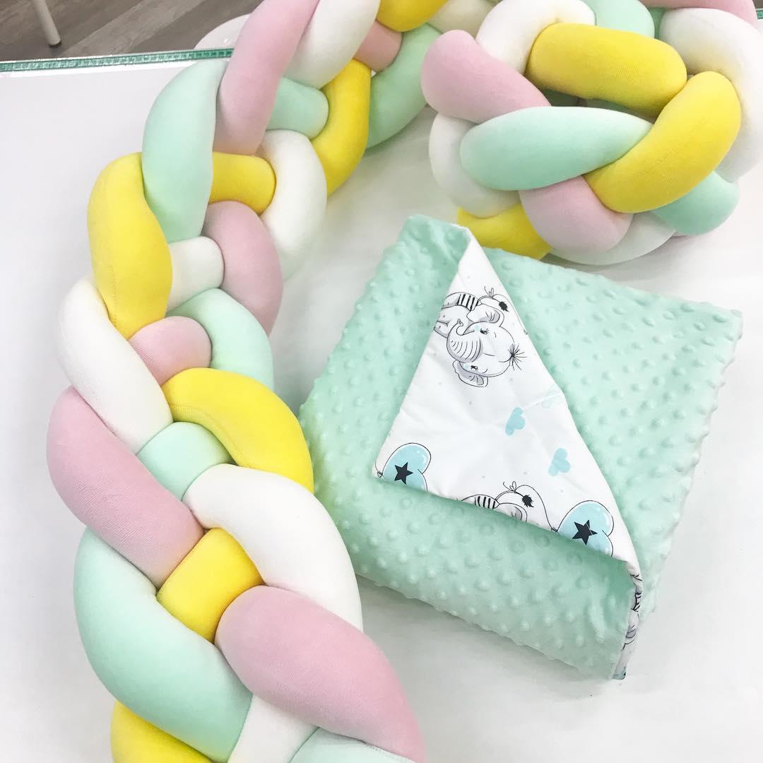 Купить бортик косичку в кроватку новорожденному