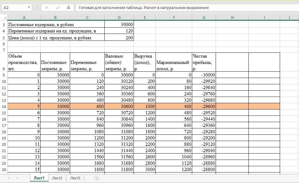 Шаблон для расчета в Excel