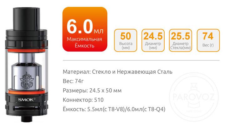 Спецификация Атомайзера SMOK TFV8