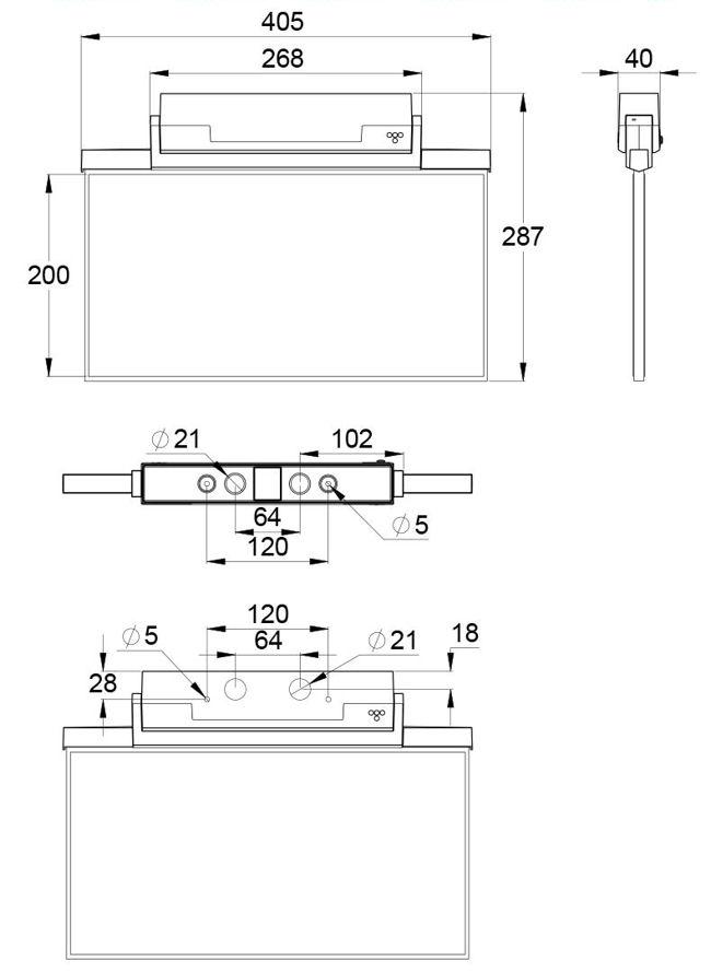 Монтажные размеры для аварийного светодиодного указателя IP44 ESC-81