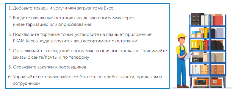 Принцип работы складской программы ЕКАМ