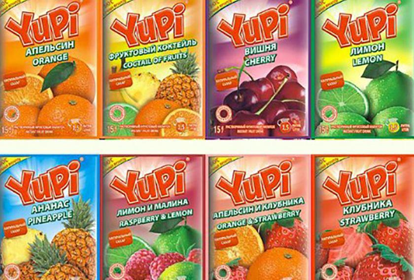 Виды растворимого напитка Yupi