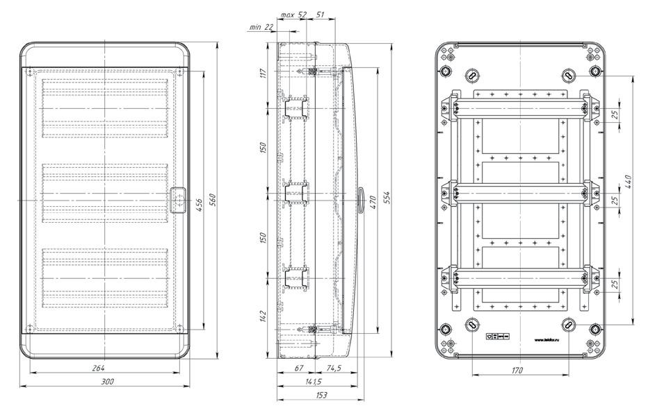 Габаритные размеры Текфор Навесной щит IP65 36 мод