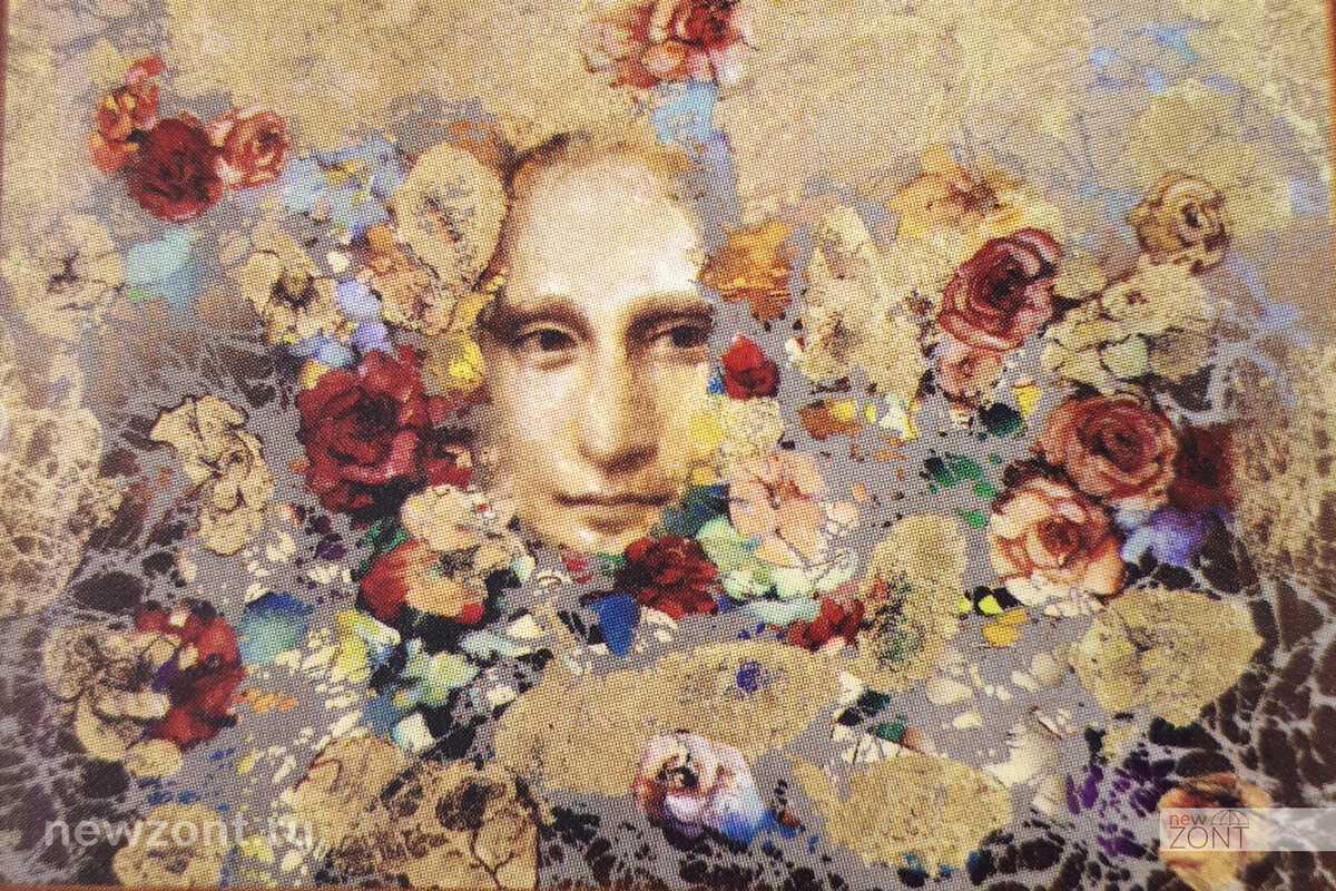 картина Никас Сафронов «Фрагментарное явление Джоконды через цветы»