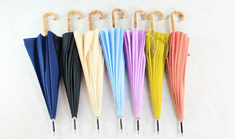Зонт трость белый с бамбуковой ручкой   ZC bamboo umbrella handle
