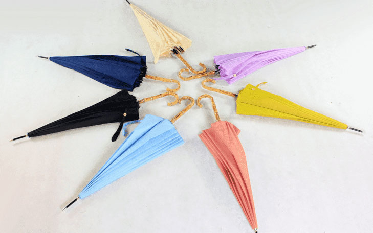 Зонт трость голубой с бамбуковой ручкой | ZC bamboo umbrella handle