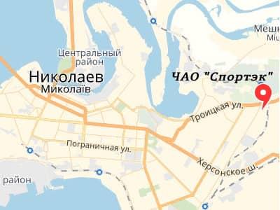 ЧАО 'Спортэк' на карте Николаева