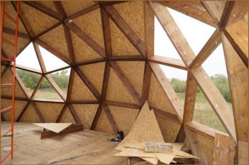Строительство купольного дома по каркасной технологии.