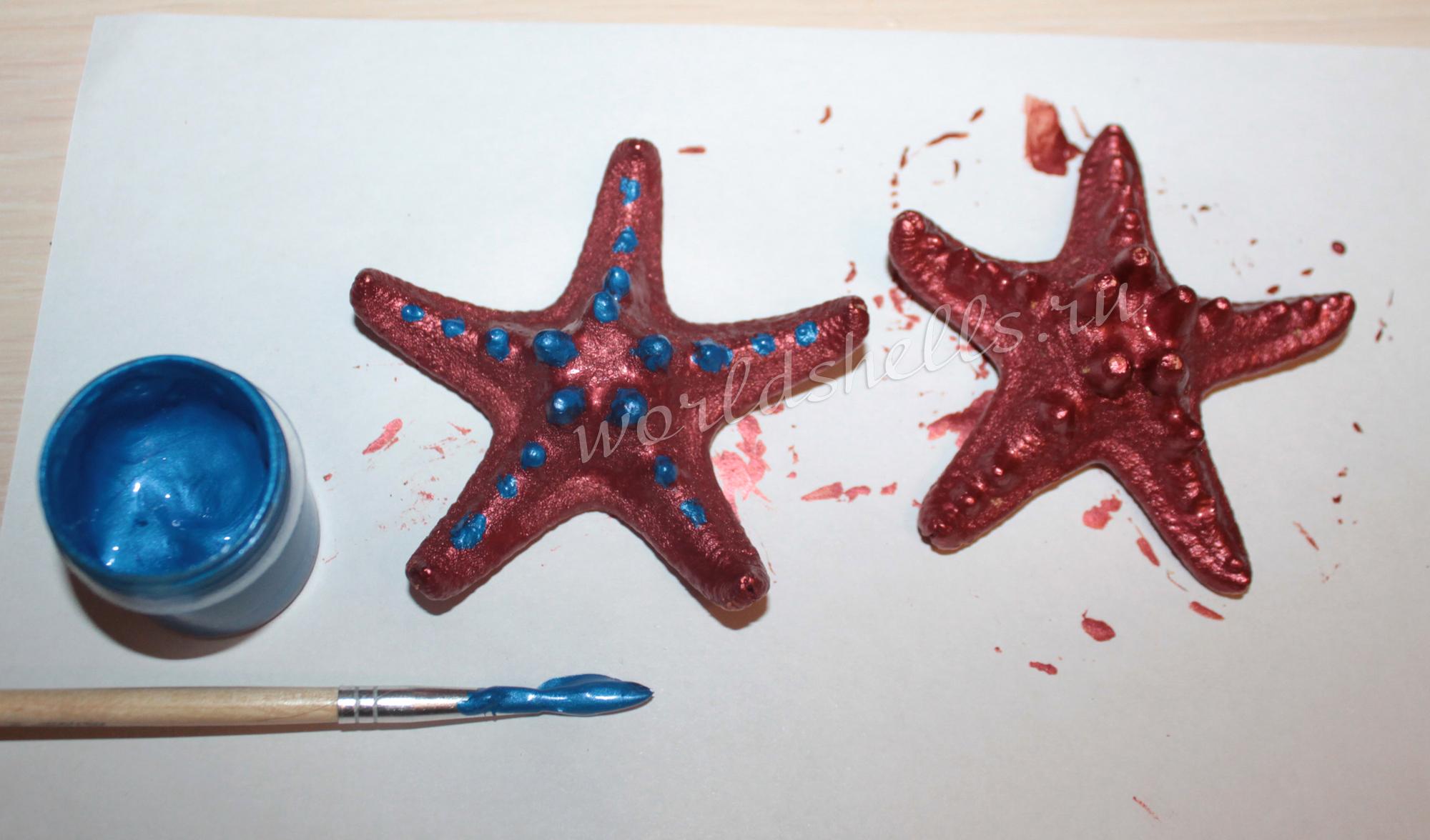 Красим шипы морских звезд синей акриловой краской