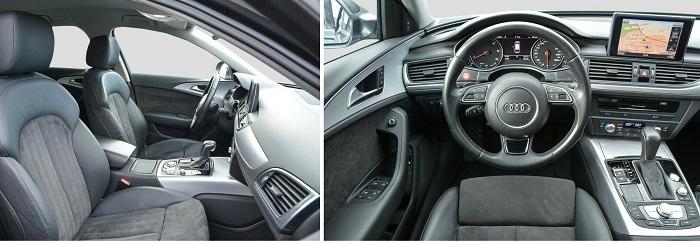 Вид из салона АУДИ A 6 с водительского сиденья