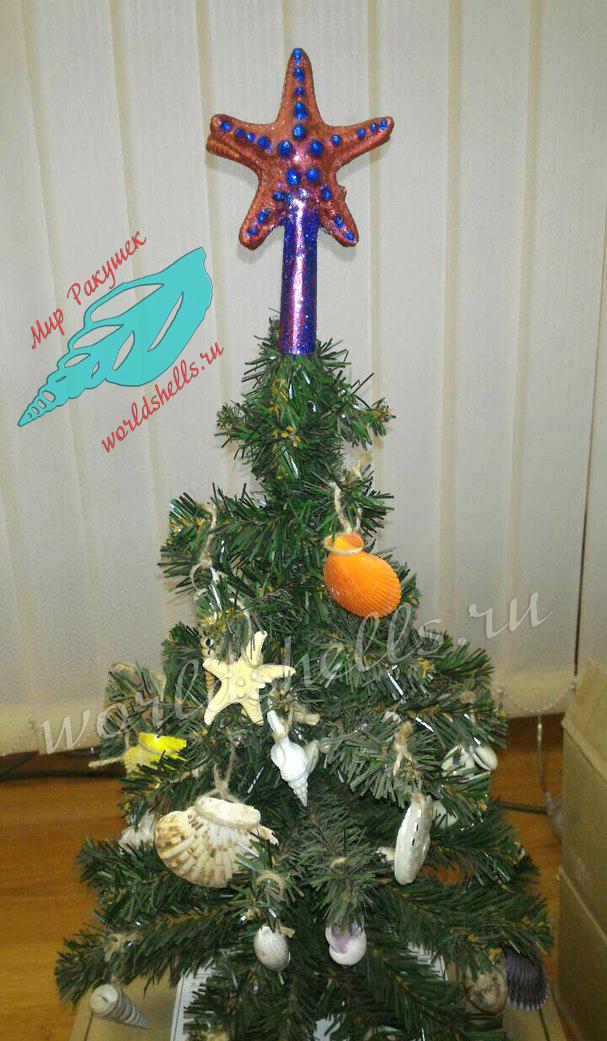 Новогодняя и рождественская елка в морском стиле с игрушками из морских звезд и ракушек