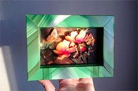 Готовая работа папертоль Желтые кувшинки — оформление в рамку из упаковки конфет.