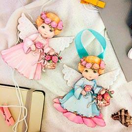 Готовая работа папертоль Ангелочки — часть композиции.