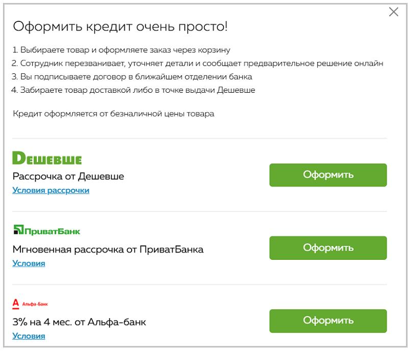 Оформление кредита на сайте интернет-магазина
