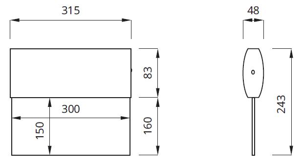 Размер двухстороннего аварийного светодиодного указателя выхода IP41 Twins LED Awex