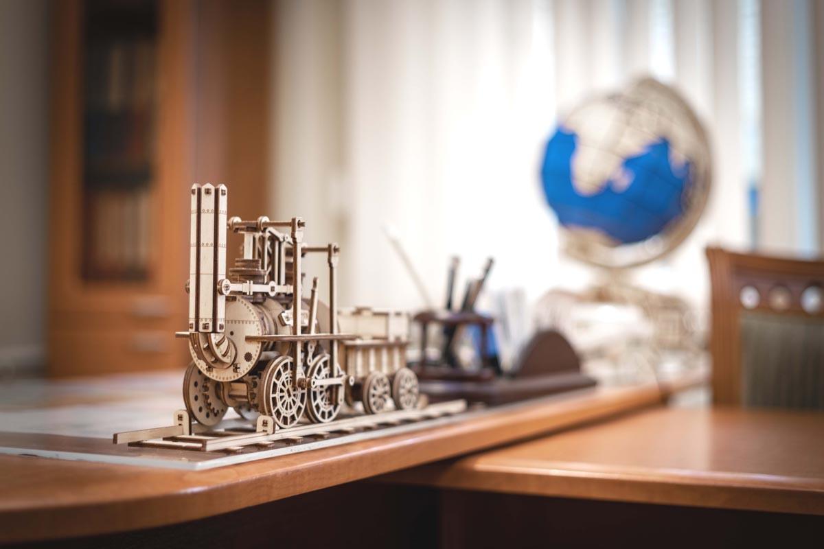 Локомотив №1 от EWA сборная модель, 3D пазл, деревянный конструктор