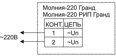 Схема подключения для светового оповещателя МОЛНИЯ-220 ГРАНД «Выход»