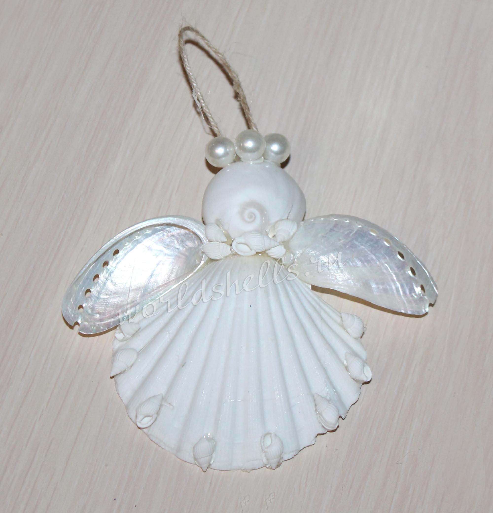Елочная игрушка из морских ракушек Рождественский Ангел