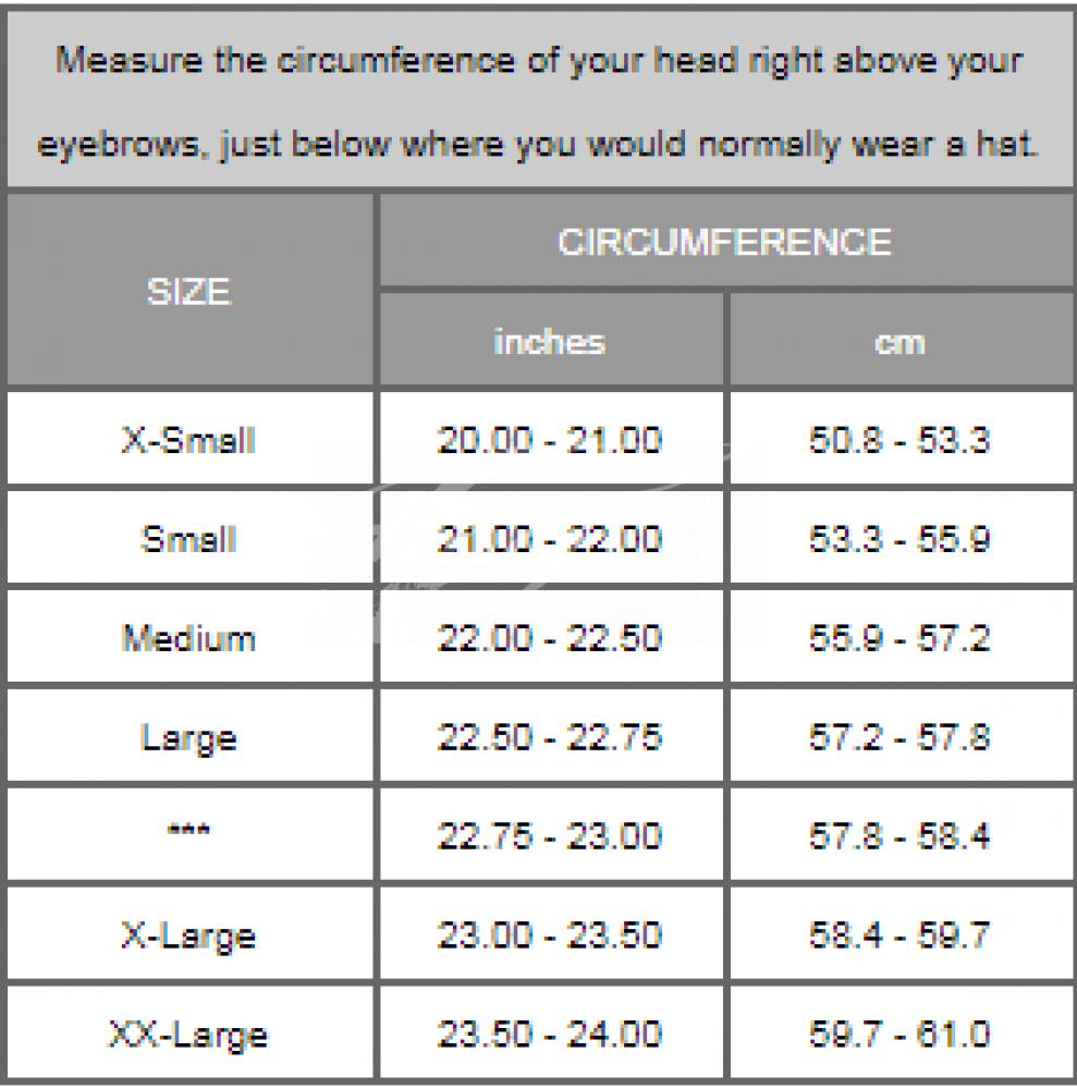 Размерная сетка шлема парашютного Kiss
