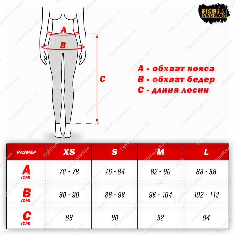 Размерная сетка таблица женские леггинсы Peresvit