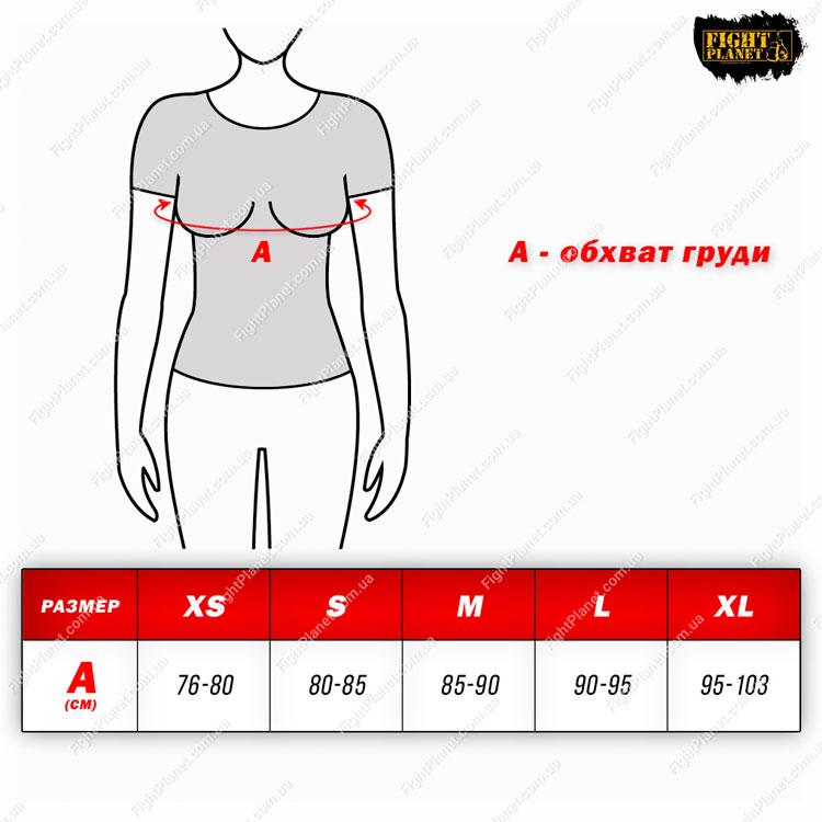 Размерная сетка, таблица женская футболка Peresvit