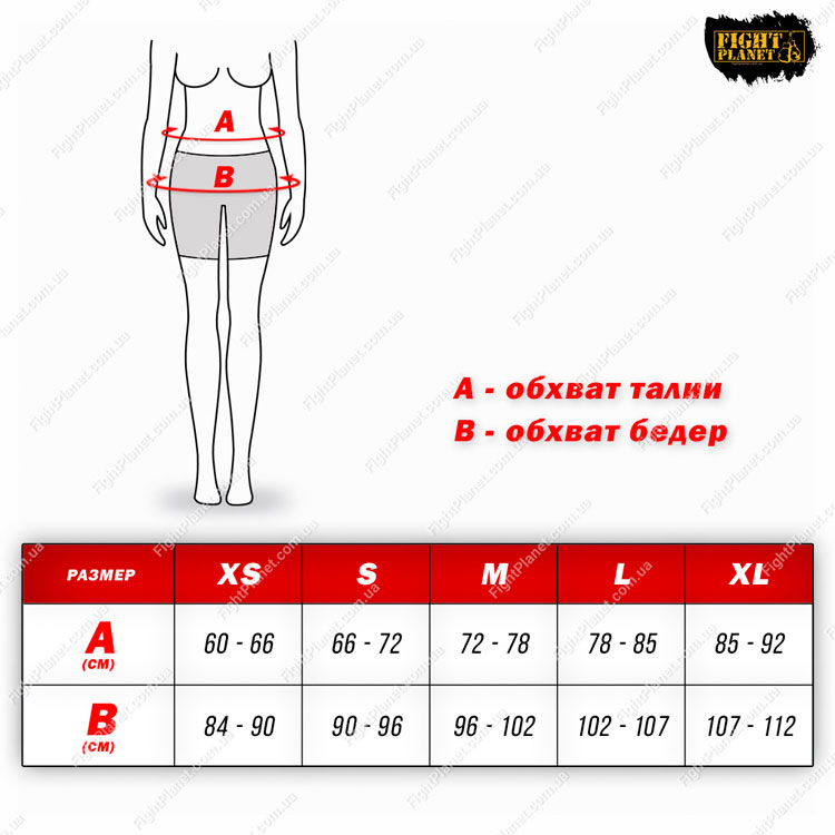 Размерная сетка таблица женские шорты Everlast