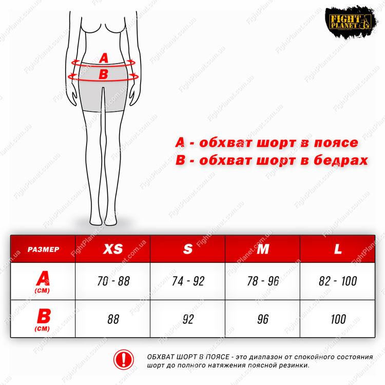 Размерная сетка таблица женские шорты Peresvit