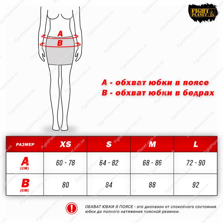 Размерная сетка таблица спортивная юбка Peresvit