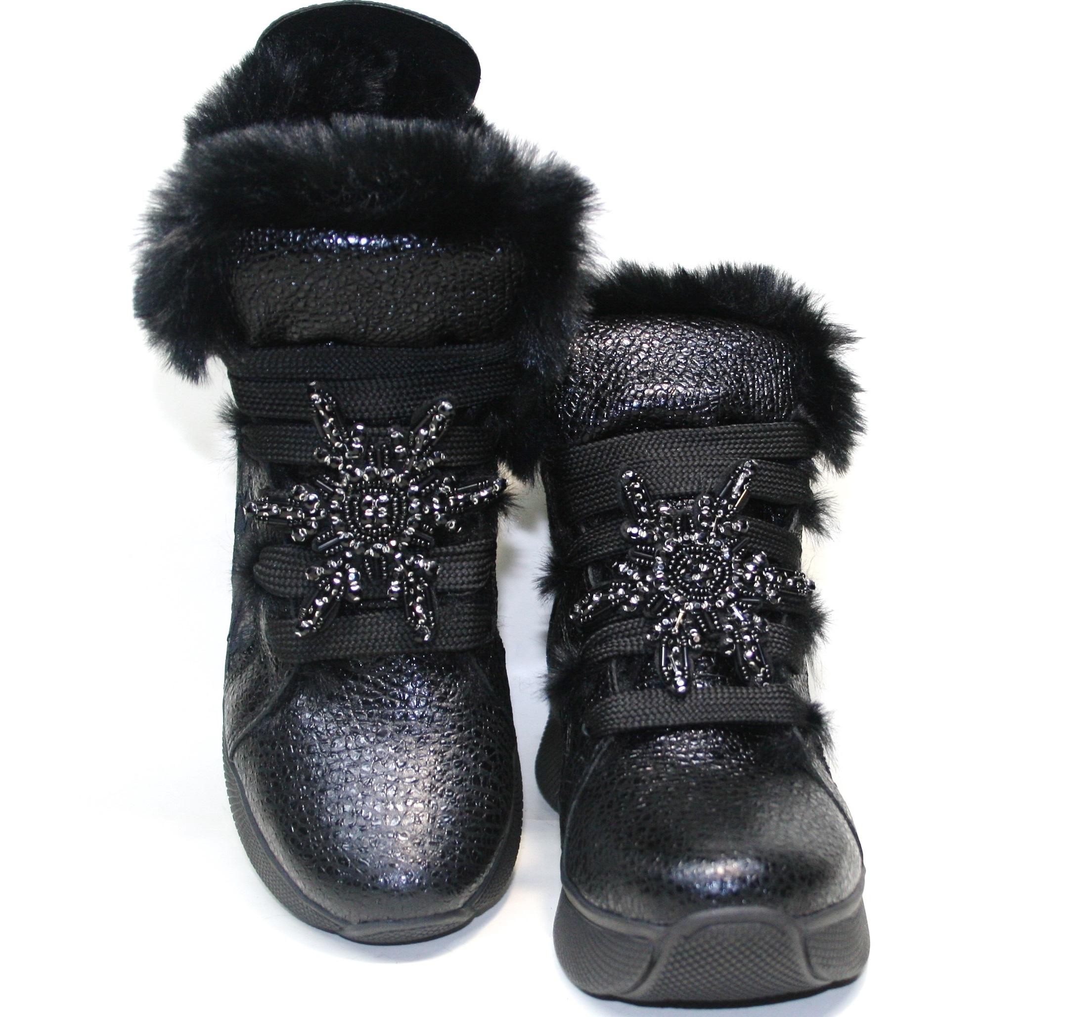 Черные женские кроссовки на меху