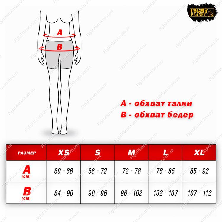 Размерная сетка таблица женские компрессионные шорты Bad Boy